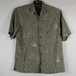 Tommy Bahama Button Camp Shirt Large 100% Silk